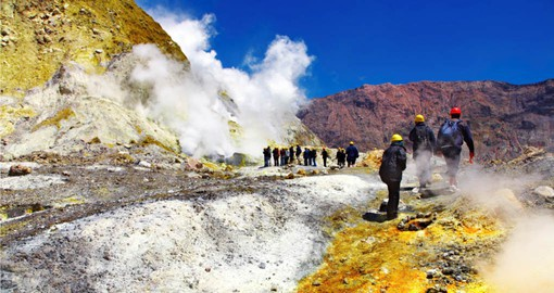 Visit the active volcano on Whote Island on your New Zealand Vacation