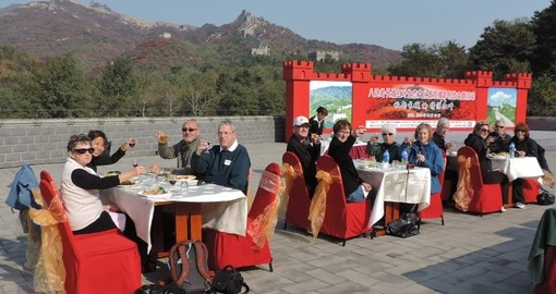 Enjoy a traditional Chinese meal atop of the Great Wall during your China Vacation.