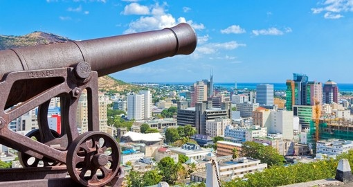 An old cannon overlooking Port Louis - a great photo opportunity on all Port Louis tours.