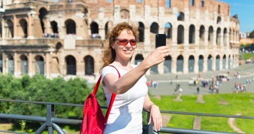 Selfie at the Colosseum in Rome, Italy
