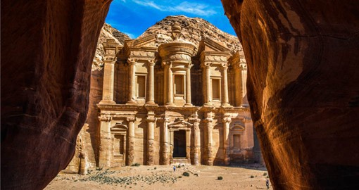 A highlight of your Jordan vacation is the The Monastery at the ancient city of Petra