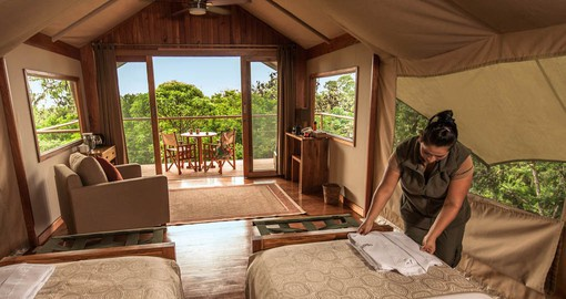 The Luxury Safari Tents feature airy and comfortable interiors