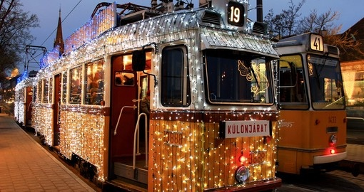 A tram with festive lights