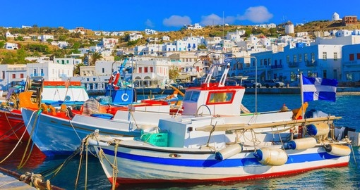 Colorful wooden fishing boats in Mykonos