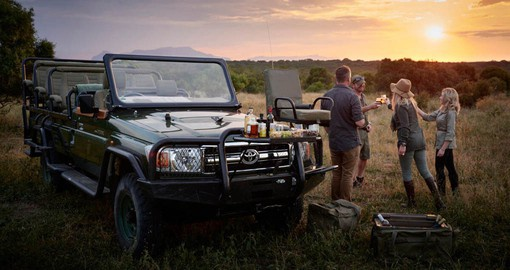 End your afternoon game drive with Sun Downers at Royal Malewane