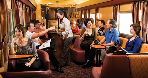 Gold Service Lounge car, a great place to meet fellow travelers during your Trips to Australia.