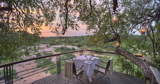 See spectacular deck views at the Dulini Leadwood Lodge during your South Africa trip.