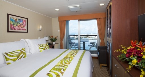 Lavish in the luxurious superior deluxe room aboard the cruise during your Tahiti Vacation