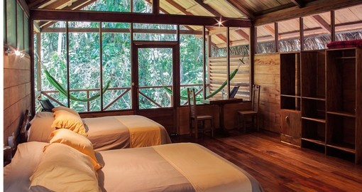 Stay in the comfortable Sillustani Funnery Towers at Sacha Lodge on your Ecuador Vacation