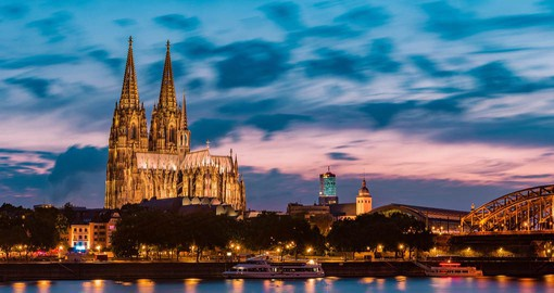 The filigree spires of the Gothic Cathedral dominate the skyline of Cologne
