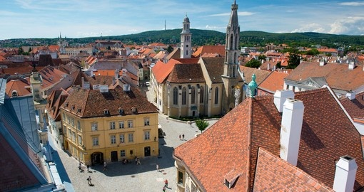 Main square in the old town of Sopron