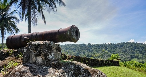 Historical cannon used to combat pirates at Paraty in Rio de Janeiro