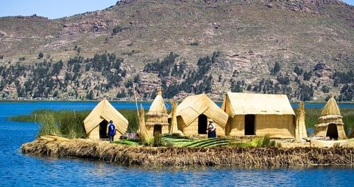 Uros, floating islands, Lake Titicaca