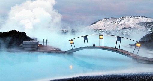 If you are travelling through Iceland The Blue Lagoon would be your gem there, have a relaxing time right after your flight.