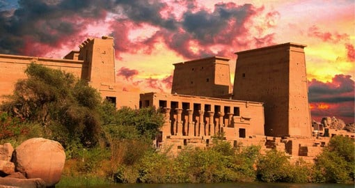 Temple of Philae, built in the classic Egyptian style, honours the goddess Isis