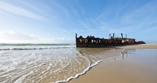 Explore Shipwreck on the beach of Fraser Island during your next trip to Australia.