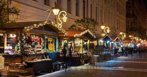 Budapest's Zrinyi Street leading from the Basilica to the Danube is full of food stalls at Christmas