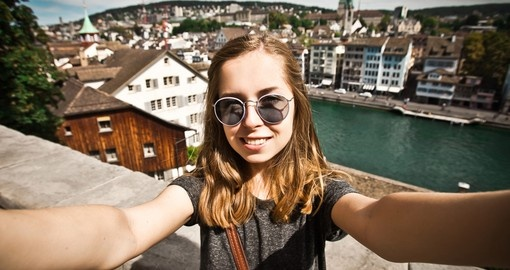 Tourist takes selfie in Zurich