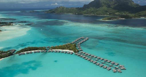 Explore aerial View St Regis Bora Bora during your next Tahiti vacations.