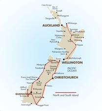 North and South Island Self Drive Map