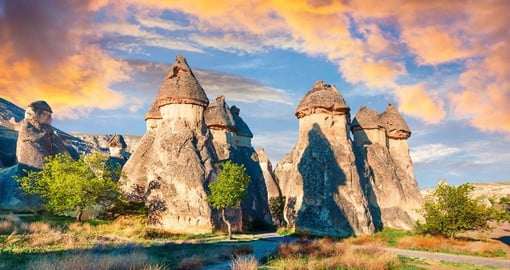 Cappadocia, in central Turkey, is famous for its fairytale scenery, cave dwellings and remarkable rock formations