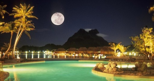 Enjoy swimming at night in the pool with gorgeous moonlight during your next Bora Bora vacations.