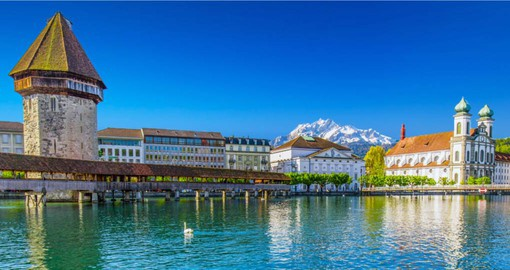 Lucerne, known for its preserved medieval architecture and the covered Chapel Bridge, built in 1333