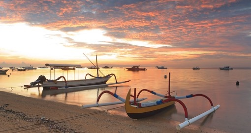 Balinese ships on Sanur Beach