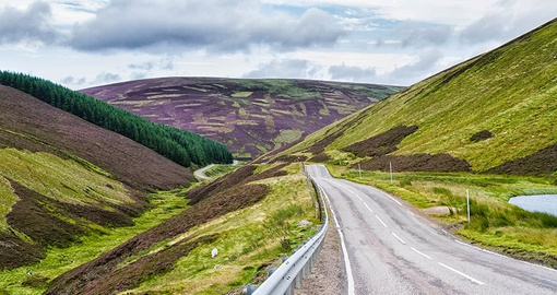 Travel picturesque roads in Cairngorms National Park on your Scotland Tour
