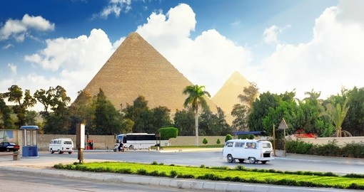 Ancient Great Pyramids and present day Giza town