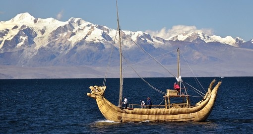 Floating reed boat on Lake Titicaca