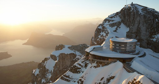 "Known as ""Maker of Weather"", ""Dragon's Lair"" and ,""Home to Giants"", Mount Pilatus overlooks Lake Lucerne"