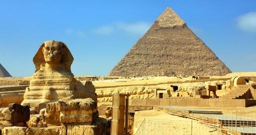 Famous ancient Egypt Cheops Pyramid and Sphinx