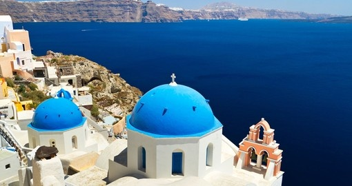Church Cupolas and the Bell Tower in Santorini