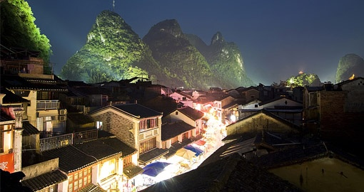 Night view of Yangshuo