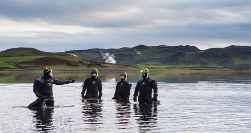 Prepping for the Geothermal Snorkelling on Lake Kleifarvatn, part of your Iceland vacation.