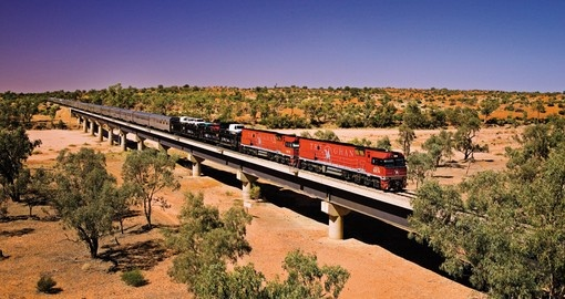 Travel through the outback on the Ghan Train on your next Trips to Australia.