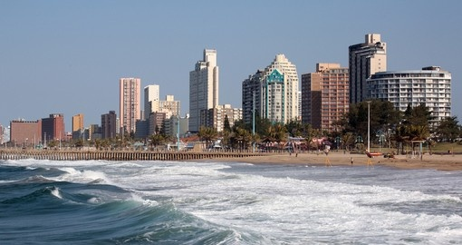 The city skyline and beach are popular photo opportunities on all Durban tours.