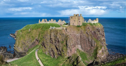 The ruined medieval fortress of Dunnottar Castle near Aberdeen