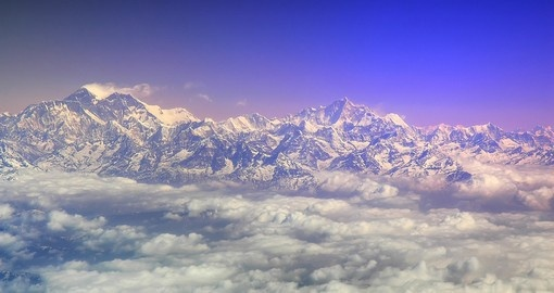 Mount Everest and surrounding peaks