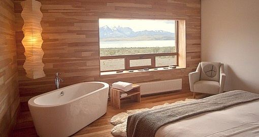 Soak up gorgeous views of Patagonia from your room on your trip to Chile