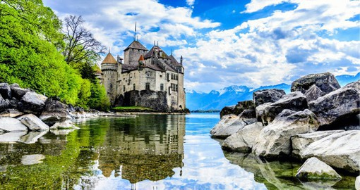 Chillon Castle on the banks of Lake Geneva is the most visited historic building in Switzerland