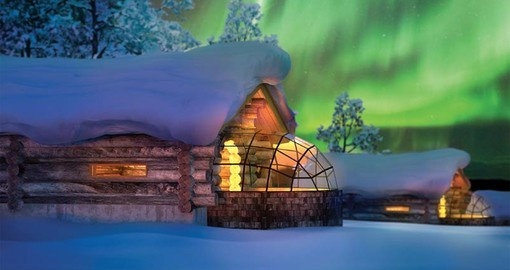 Enjoy the northern lights from the comfort of your own igloo on your Finland vacation