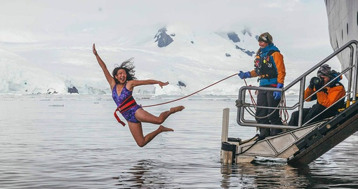 Wake yourself up with a plunge into frigid water on your Arctic cruise