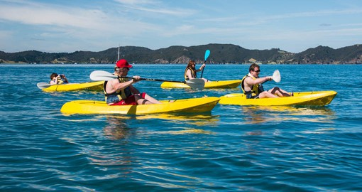 Kayak from the Rock Cruise Ship as one of your New Zealand vacation packages
