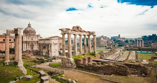 Explore The Roman Forum surrounded by the ruins in Rome on your next trip to Italy.
