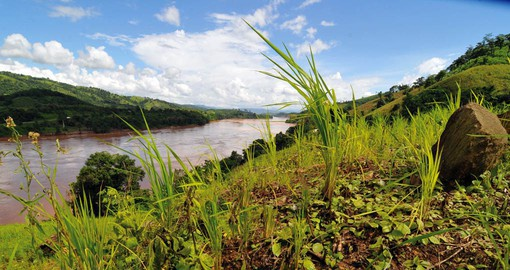 The Mekong River drains more than 810,000 square km of land, stretching from the Plateau of Tibet to the South China Sea
