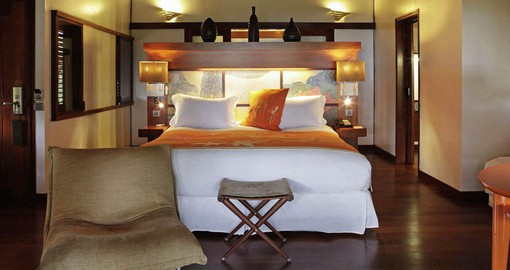 The rooms at the Sofitel have a modern Tahitian feel