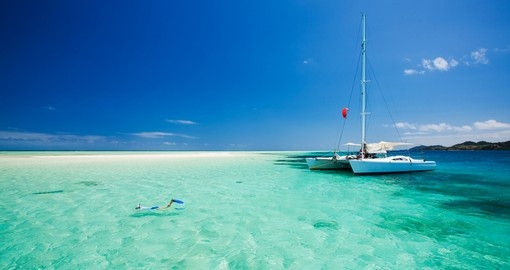 Shallow tropical water off Catamaran
