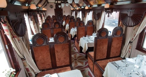 The restaurant car also serves as a bar